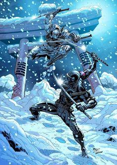 Snake Eyes and Storm Shadow Comic Book Characters, Comic Character, Comic Books Art, Comic Art, Arte Ninja, Ninja Art, Power Rangers, Snake Eyes Gi Joe, Transformers