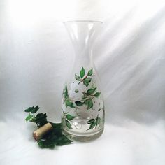 Decanter carafe handpainted dogwood gift for wine por DeannaBakale