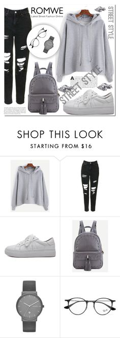 """""""#Romwe3"""" by miralemaa ❤ liked on Polyvore featuring Topshop, Skagen and Ray-Ban"""