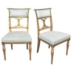 Pair of Swedish Gustavian Chairs by Melchior Lundberg | From a unique collection of antique and modern chairs at https://www.1stdibs.com/furniture/seating/chairs/