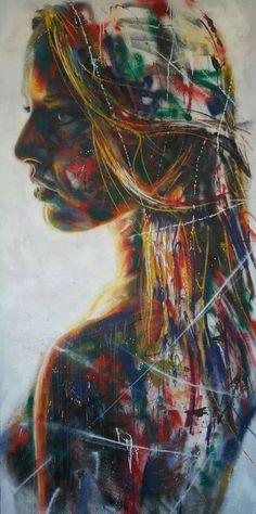 Graffiti : Portrait d'une femme by David Walker Amazing Street Art, Amazing Art, Walker Art, David Walker, Wow Art, Street Art Graffiti, Street Artists, Art Plastique, Portrait Art