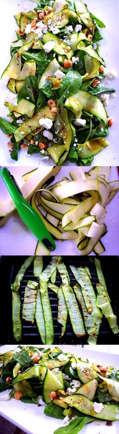 Zucchini Ribbon Salad 1 zucchini 1 bunch arugula 1 garlic clove – crushed olive oil and red wine vinegar (for the vinaigrette – 3 parts olive oil and one red wine vinegar) 1 teaspoon Dijon mustard feta cheese oregano, black pepper and salt toasted nuts (pine nuts, hazelnuts, almonds, etc)