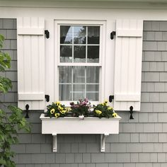 31 Ideas For Exterior House Colors Cottage Shutters Cottage Shutters, Farmhouse Shutters, Cottage Exterior, House Paint Exterior, Exterior House Colors, Grey Siding House, Cottage Windows, Exterior Design, Outdoor Shutters