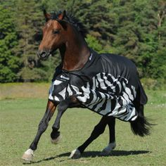 Bucas Buzz Off Zebra Rain Sheet - Perfect for fluctuating weather conditions, especially warm and wet days when the bugs like to hang around. In this sheet, features of the Buzz-off Zebra Fly Sheet and the Sun Shower Lightweight Turnout have been combined. The upper is waterproof and breathable, while the lower is made of Buzz-off Zebra fabric. Together you have a lightweight waterproof rug with both UV and fly protection.
