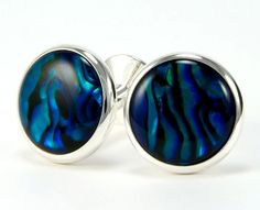 Paua Shell Sterling Silver Cufflinks Blue Paua by bcrdesigns