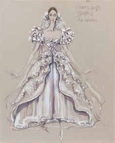 Princess Vespa original costume sketch from the movie Spaceballs, costume designer Donfeld This looks very with the hairbows and crinoline, so I'm just gonna put it in the c folder Ballet Costumes, Movie Costumes, Costume Design Sketch, Fashion Illustration Vintage, Fashion Art, Fashion Design, Film Fashion, Fashion Painting, Fashion Plates