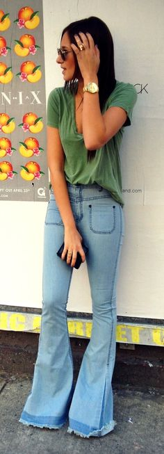 flare jeans with deep v shirt