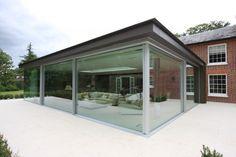 Triple glazed slim frame sliding glass doors