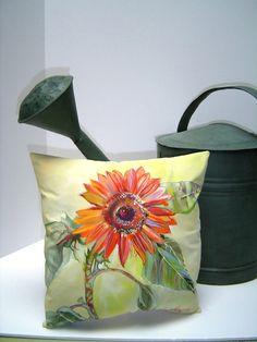 A Glorious Sunset Sunflower Pillow - Hand Painted