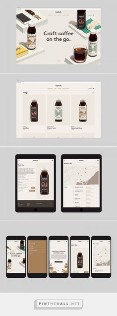 Hatch Cold Brew Coffee Identity, Packaging & Website on Behance... - a grouped images picture - Pin Them All