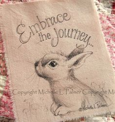 Bunny Rabbit Original Pen Ink Fabric Illustration Quilt Label by Michelle Palmer January 2014 ♥