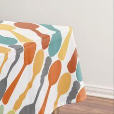 Monogram Retro Colors Spoon Pattern Tablecloth