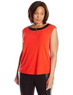 Calvin Klein Womens PlusSize Extended Shoulder Top with Hardware Tango Red 2X *** Read more reviews of the product by visiting the link on the image.Note:It is affiliate link to Amazon.