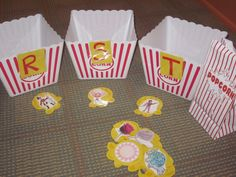 Popcorn Words - Initial Consonant Sound Sort.  I will put a velcro tab on the front to easily change the letters.