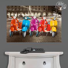 Vinilos Decorativos: Póster adhesivo 5 Vespas en Roma #poster #vespa #roma #moto #ciclomotor #motocicleta #lámina #vinilo #TeleAdhesivo Volkswagen, Bullying, Vespas, Adhesive, Vinyls, Rome, Black And White, Colors