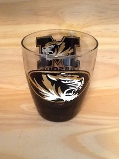 Hand Painted Missouri Tigers Short Glass by brandiedmonds on Etsy, $15.00