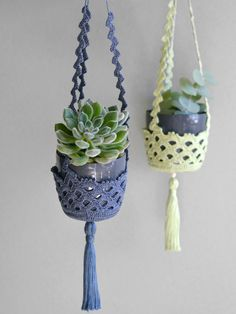 Succulent hanger Set of two crochet plant hangers Succulent Plant Pot Crochet home decor Decorative Container Modern Crochet Design