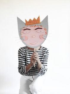 Cardboard Pasta Mask Costume Inspired by Where The Wild Things Are Children's Book.