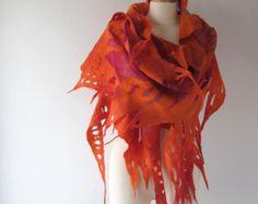 Écharpe feutrée Orange en feutre écharpe feutrée étole châle rouge feu, châle…