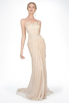 Embellished Lace and Chiffon Strapless Gown in Desert Bloom - Evening Gowns  - Evening Shop 581e7dddf3b9