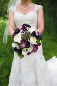 Gorgeous purple bouquet with succulents