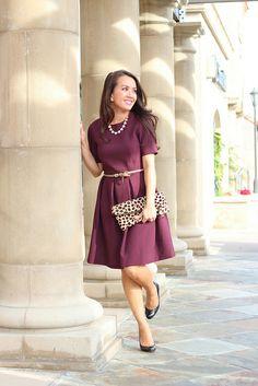 H&M Burgundy Flare Dress-3 by Stylish Petite, via Flickr