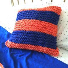 Chunky knit pillow. Florida Gator theme.