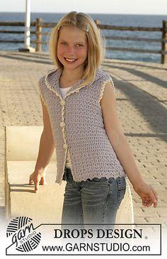 s15-9 Crochet sleeveless cardigan in Alpaca by DROPS design free