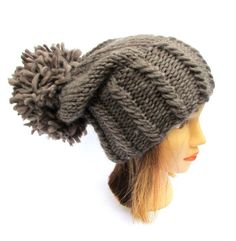 Slouchy beanie hat taupe chunky knit hat wool dark beige knitted hat with  large pom pom - knit slouch hat designer hat for women Irish gift 6491a7bcd638