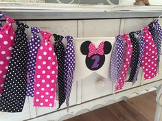 Minnie Mouse Banner Party Pink and Purple by PrettyBoutiqueParty