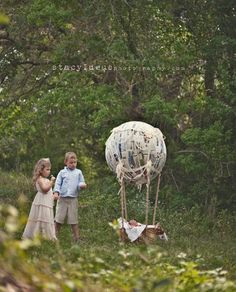 hot air balloon made from paper mache  wire and painted baskets