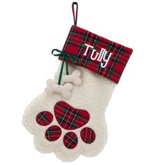 Puppy Paws 15-Inch Christmas Stocking with Dog Bone in Red