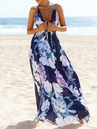 Popular Cotton Floral Printed Off Back Deep V Neck Maxi Dress – chiclinen summer dresses plus size long dresses maxi dresses with sleeves women dresses summer long dresses to wear to a wedding maxi dresses maxi dresses formal outfit Backless Maxi Dresses, Chiffon Maxi Dress, Floral Maxi Dress, Flowy Skirt, Dresses Dresses, Summer Dresses, Mini Dresses, Dresses Online, Dress Outfits