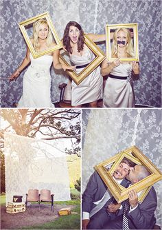 DIY photo booth,picture framed, props, lace background and a tree. Photo Booth Frame, Diy Photo Booth, Wedding Photo Booth, Photo Booth Backdrop, Photobooth Idea, Picture Frames, Photo Booths, Wedding Wishes, Our Wedding
