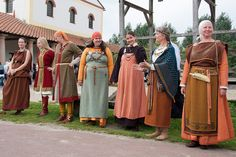 "I don't personally do Viking, but I couldn't resist pinning this one. Later period medieval fashion does not hold the monopoly on a variety of styles available to wear! I'm particularly interested in the third one from the left- looks comfy! from ""many faces of norse female fashion"" from Archeon http://www.archeon.nl/"
