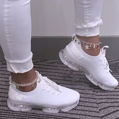 Lace-Up Lace-Up Round Toe Plain Sneakers Dr Shoes, Cute Nike Shoes, Swag Shoes, Cute Nikes, Nike Air Shoes, Hype Shoes, Me Too Shoes, All White Nike Shoes, Nike Tennis Shoes