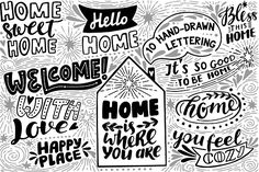 HOME Overlays & Icons by Maria Galybina on @creativemarket Hand drawn lettering about home