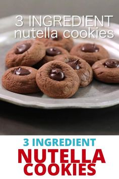 These 3 ingredient Nutella cookies are tender and rich, and couldn't be easier. Make the quick cookie dough in a food processor, and they're ready to eat in about 15 minutes, start to finish. Best Gluten Free Cookie Recipe, Best Gluten Free Desserts, Delicious Cookie Recipes, Gluten Free Baking, Baking Recipes, Dessert Recipes, Quick Cookies, Healthy Cookies, Honey Oat Bread