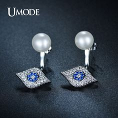 UMODE Exquisite Hamsa Double Side Simulated Pearl Stud Earrings Full Paved Cubic Zirconia White Gold Color Brincos UE0157