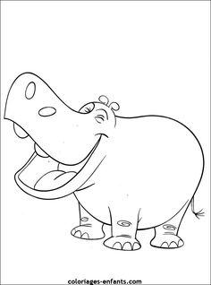 dessin animaux de la jungle   Coloriage d'hippopotames à imprimer de la rubrique animaux sur ...