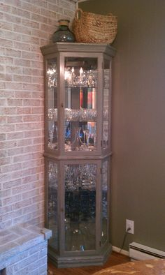 Curio Cabinet Chalk Paint Makeover.  Custom mixed color.
