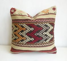 Vintage Burgundy and Cream Kilim Pillow Cover