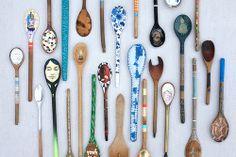 36 antique spoons