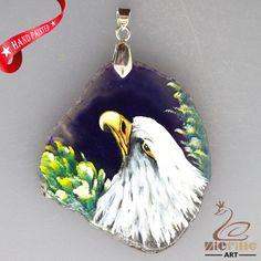 HAND PAINTED PARROT BIRD AGATE SLICE GEMSTONE NECKLACE PENDANT ZL8017578 #ZL #PENDANT