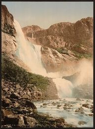 Skjeggedalsfos, I, Odde, Hardanger, Fjord, Norway - Picture produced using the Photochrom system - 1890s