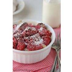 red velvet bread pudding...my husband's two favorite desserts rolled into one!
