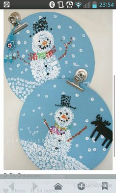 Cotton bud snowmen