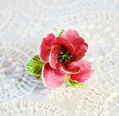 Vintage Porcelain Flower Brooch / Pin, Pink Rose Bud, Designer ENGLAND, 1950s, Romantic Cottage Chic, Floral Wedding Bridal Jewelry by TheGildedSwan, $19.00