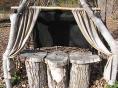 outdoor theater (puppet)- maybe we should move the log stumps up by the stage?