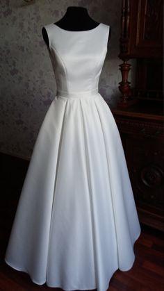 Modern Minimalistic Atlas Wedding Dress with by TashaWeddingStudio